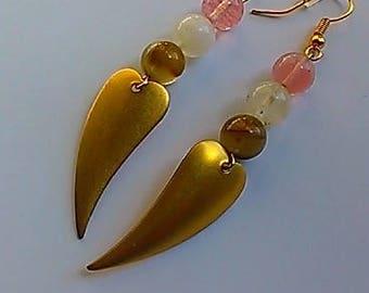 Rose Quartz and brass earrings