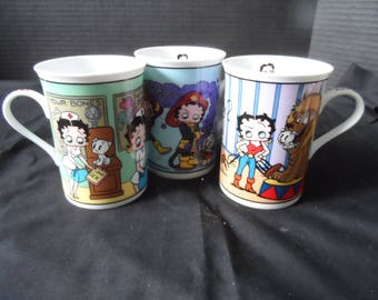 Danbury Mint Betty Boop Fine Porcelain Collector Mugs Cups  Nurse, Firefighter, Lion Tamer   1473