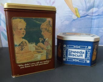 Vintage 1980,1992 Collectible Tins Hungry Jack Pancake Mix Uneeda Biscuit Tin Bristol Ware Advertising  Canisters, Storage  Display   1582