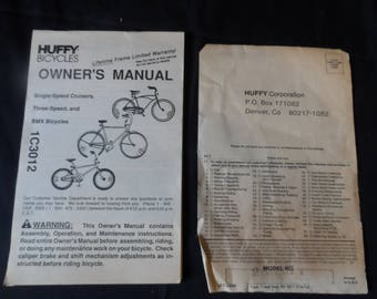 FREE SHIPPING in USA Gift for Fan Of Huffy Bicycles Vintage 1990 Model 26438 Owner's Manual and  Registration Card  1904