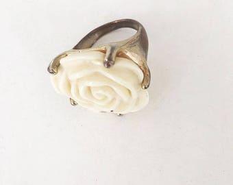Vintage 1980's White Rose Ring