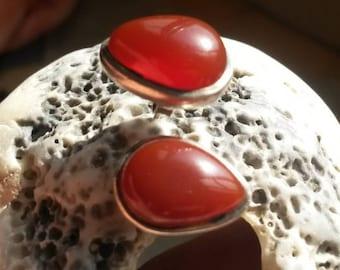 Vintage aqeeq sterling earrings . Natural aqeeq in sterling silver handmade earrings . Genuine agate gemstone in Antique 925 silver earring
