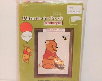 Vintage Winnie The Pooh Stitchery Kit, Pooh In Hunny Jar