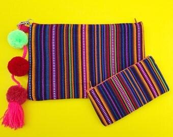 Mexican clutch, Embroidered clutch, Serape blanket clutch, Mexican bag, Pom pom clutch, Southwestern bag, Mexican purse, Boho clutch