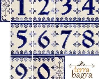 Handmade Ceramic House Number tiles Blue Dolls - Large size