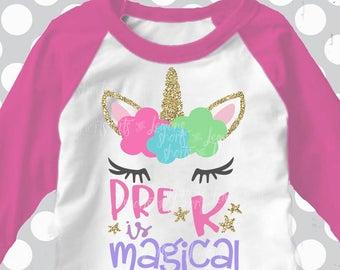 Pre-k svg, girls Pre-k shirt, preschool svg, pre-k is Magical, svg, girls pre-school svg, iron on, transfer, DXF, EPS, cricut, pre-school