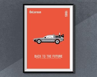 Back to the Future, Delorean Movie Car Print, Film Poster, Time Machine