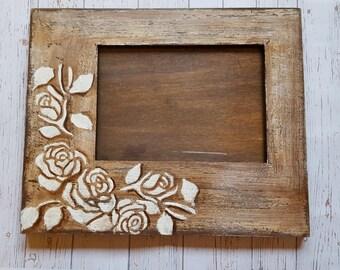 Wooden frame, shabby chic frame, frame with roses, gift for mum.