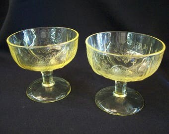 """Rare 1930's U.S. Glass Company """"Primo Panelled Aster"""" Yellow Sherbets (2)"""