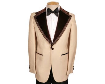 Vintage 1970s Yellow Tuxedo Jacket with Brown Velvet Lapels Mens Size 36
