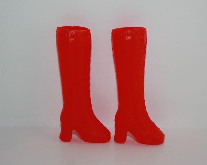 Vintage Red Plastic Boots for Barbie Skipper Dolls Hong Kong