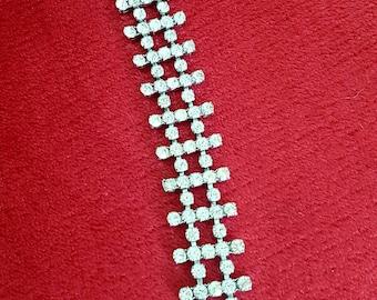 Vintage Crystal Diamante Bracelet 1950s 1960s Jewellery Jewelry Accessories