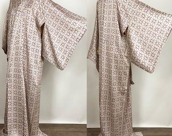 Japanese K110403 beautiful Soushibori Gray Komon Kimono Vintage