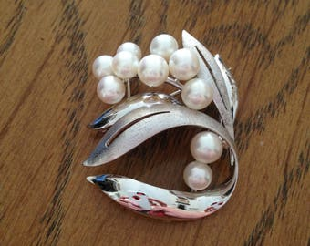 Floral Sterling Silver and Pearl Brooch