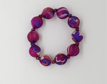 Beaded bracelet made from upcycled Indian sari