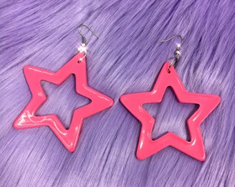 STAR EARRINGS | available in pink & red