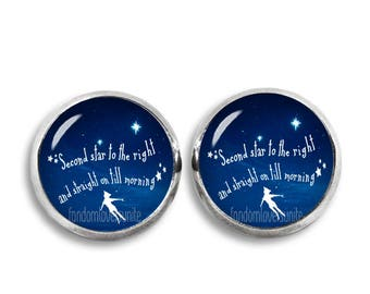 Peter Pan Stud Earrings Second star to the Right Earrings Peter Pan Jewelry 12 mm earrings Cosplay Fangirl Fanboy