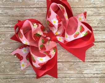 Double stacked hair bows, big hair bows, pink hair bows, red hair bows, strawberry shortcake hair bows, double stack bows, pink and red bow