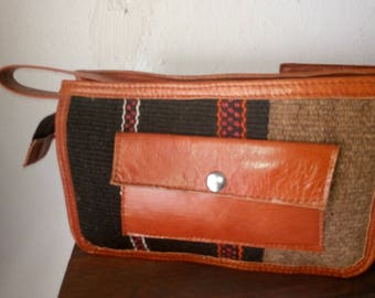 Clutch wallet Berber handmade leather and fabric traidtionnel