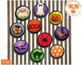 Halloween Buttons, Brooch, Pin   Fabric on Metal   Party favor, Goody bag filler   Ghost, Pumpkin, Spider, Black cat   Sewing, Stitching