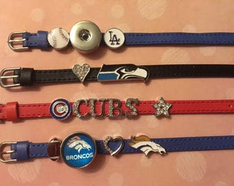 """Trendy New Colored Leather Slider Bracelets with Sporting Sliders and 18mm Snaps - Fits Wrist Sizes 5"""" - 8"""""""