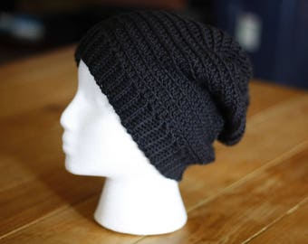 Adult Black Slouchy Beanie / Toque