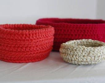 Set of 3 Small/Medium Crochet Baskets