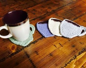 Set of 4 Crochet Coffee Mug Coasters, cup coasters, drink, coffee