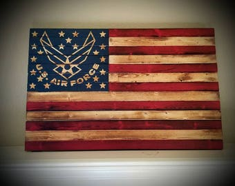 Solid Wood American Flag Burnt Hand Painted United States US Air Force Large Sign