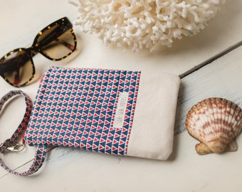 Katrina Glasses Pouch, Blue Triangles and Natural