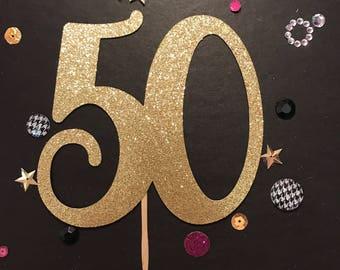 50th Cake Topper, 50th Birthday Cake Topper, Cake Topper, Glitter Cake Topper, 50th Birthday Decorations, 50th Birthday
