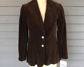 1970s Wide Lapel Brown Velvet 2 Button Blazer by Evan Picone | Made in the USA | Patch Pockets | Size Small