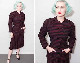 1940's Red & Black Wool Pinstripe Suit | Size XS