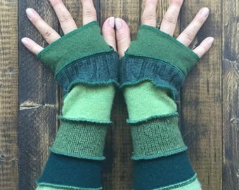 Green Fingerless Gloves Made from Recycled Sweaters