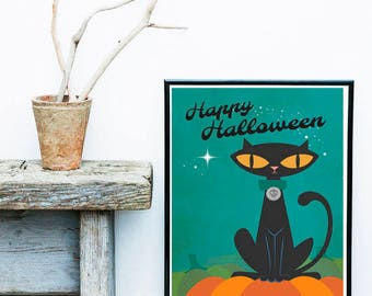 Vintage Halloween Black Cat, Halloween Decor Quote, All Hallows Eve, Art Print, Instant, Printable Digital Download