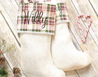 Personalized Christmas Stockings- Christmas Stockings- Monogrammed Christmas Stockings- Rustic Christmas Stockings-Burlap Christmas Stocking