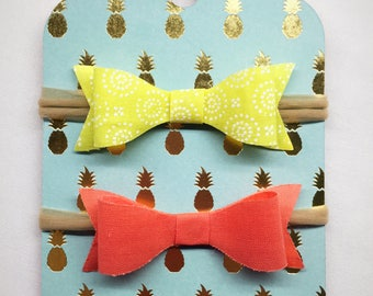 Baby Headband Bow - Lime and Coral - Set of Two