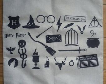 Harry Potter symbols canvas pillow cushion hogwarts deathly hallows witch wizard dumbledore.