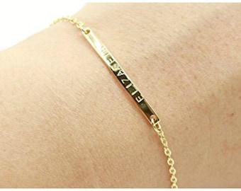 Name plate Gold Bar Bracelet, k14 gold bar  bracelet, Silver bar bracelet, Bridesmaid bar Jewelry, Nameplate bar  Bracelet, Valentines Day