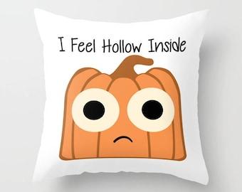 Pumpkin Pillow, Pillow Cover, Pillow Case, Halloween Pillow, Jack O Lantern, Funny Pillow, White Pillow, Cute Pillow, LOL Pillow, Humor, Art