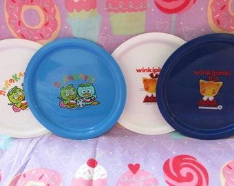 Vintage 1991 Sanrio Winkipinki and Kappa 4 plastic plates  - NEW