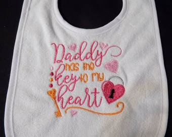 Daddy Holds the Key to my Heart - Terry Cloth Bib