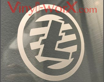 """Litecoin LTC Coin Vinyl Decal Sticker Blockchain available in 2"""" 3"""" 4"""" 5"""" 6"""" crypto miner cryptocurrency gifts"""