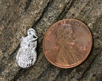 Silver Plated Bronze Textured Owl Charm