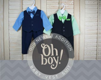 Babies Toddlers Vest 4-Piece Suit, Vest Shirt Pants Bow Tie, Navy Blue, Black Green