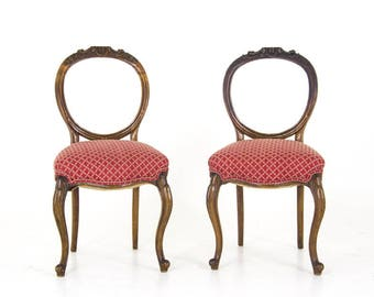 Pre Christmas Sale Walnut Balloon Back Chairs | Antique Walnut Chairs |  Victorian, Scotland,