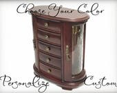 Custom Vintage Jewelry Box, Tall Curved Glass Jewelry Armoire, Made To Order Gift, OOAK Wood Jewelry Organizer, Choose Your Color Design