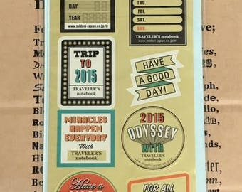 Traveler's Notebook Customized Sticker Set for 2015 Limited DIARY 84059006 Traveler's Factory Midori Designphil Made in Japan Free Shipping