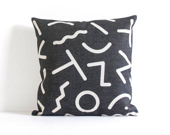 Letter Pillow Cover, Black and White, Pillow Cushion Cover, Pillow Covers, Throw Pillow, Decorative Pillow Cover, Sofa Pillow, Cushion Cove