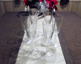 Cristal D'Arques-Durand *-* DIAMANT *-* Fluted Champagne Glasses, Set of 6
